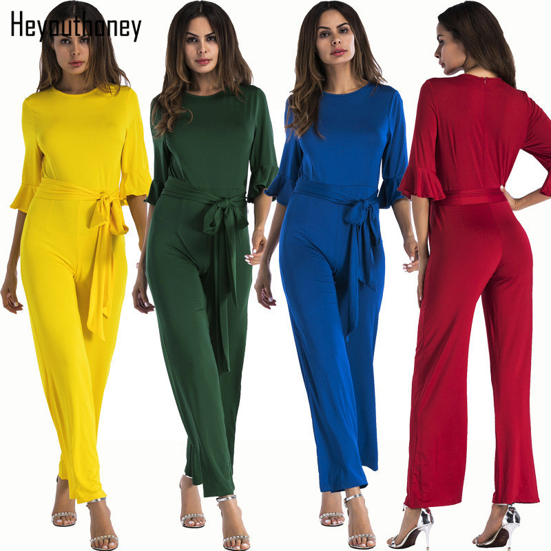 7dcca29b51d00 US $17.8 11% OFF|Heyouthoney 5 colors Autumn Elegant Rompers Womens Fashion  Jumpsuit ruffle sleeve solid color sashes Jumpsuits sashes Overalls-in ...