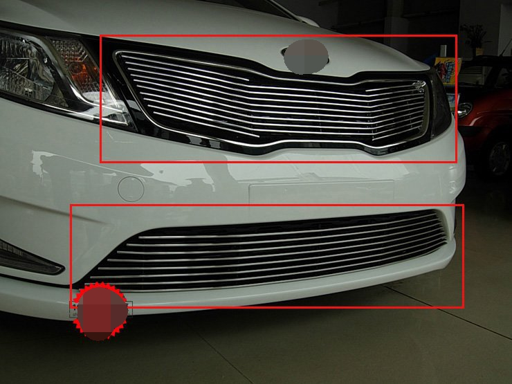 High quality stainless steel Front Grille Around Trim Racing Grills Trim For 2011-2012 KIA Rio/K2 abs chrome front grille around trim racing grills trim for 2013 hyundai santa fe ix45