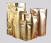 Golden Aluminium Pouches Packaging Bag Gift Bag Zipper Coffee Bag Wedding Favor Bags 200pcs/lot Free shipping(China)