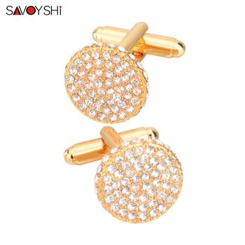 SAVOYSHI Brand Shirt Cufflinks for Mens Cuffs High Quality Round Crystals Cuff links Twins Gift Male Jewelry Free Engraving Name classic crystal spider cufflinks for men high quality male french shirt cuff links for men s jewelry birthday wedding gift