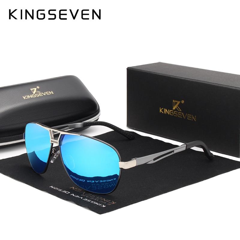 9a3813ec2837 KINGSEVEN 2019 Sunglasses Men Polarized Square Lens Brand Designer Driving  Sun glasses Aluminum Classic Frame Oculos