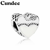 Fits Pandora Charms Bracelet 100 925 Sterling Silver Heart Charm Black White Enamel Beads Women DIY