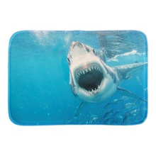 Underwater Scenery Doormats White Shark Decor Door Mats Soft Lightness Indoor Outdoor Mats Mats For Couples Short Plush Fabric