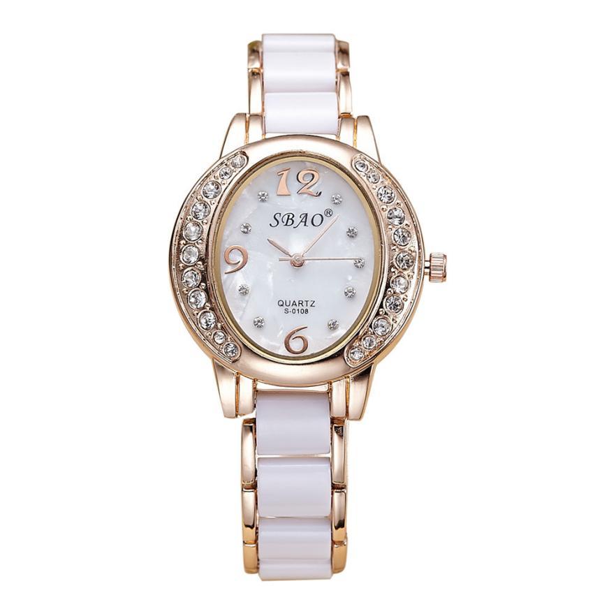 New Crystals Women Quartz Analog Wrist Watch Fashion Alloy and Imitation Ceramic Band Bracelet Watch Creative Jun25 fashion split leather band quartz analog bracelet wrist watch for women black 1 x 377