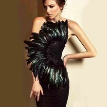 wholesale 2019 Newest Women Black Feathers Strapless Fashion mini Sexy Celebrity Cocktail party bandage dress(L2942)