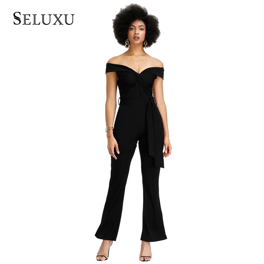 Seluxu 2019 Autumn Women Jumpsuit Sexy Slash Neck Jumpsuit Solid Color Women Jumpsuit Women Rompers Sleeveless Sashes Rompers in Jumpsuits from Women 39 s Clothing