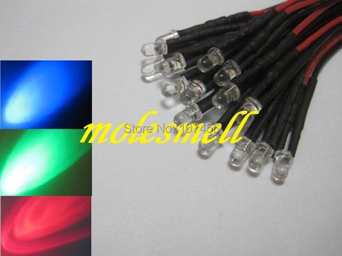 Free Shipping 25pcs 3mm 5v Red/blue/green Rgb Fast Flashing Flash LED Lamp Light Set Pre-Wired 3mm 5V DC Wired Blinking Rgb Led