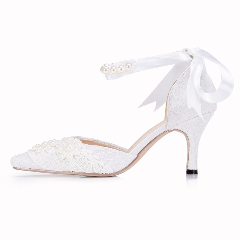 ФОТО White/Ivory Lace Pearls  Ring  Lace-up  Pearls  Flower   Pearls  Wedding  Shoes   Lace  Bridal Pumps Size EU34-41   J1532