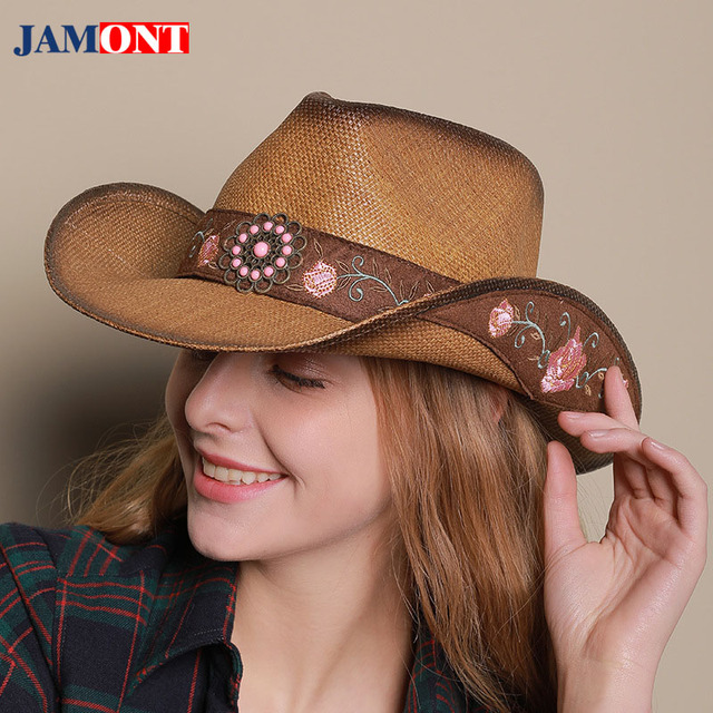 627acd76 2018Spring Man Sun Hats Woman Summer Embroidery Western Cowboy Hat Leather  Riding Cap Sombrero Mujer Beach Straw Cap PU Jazz Hat