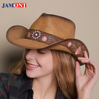 2018Spring Man Sun Hats Woman Summer Embroidery Western Cowboy Hat Leather Riding Cap Sombrero Mujer Beach Straw Cap PU Jazz Hat