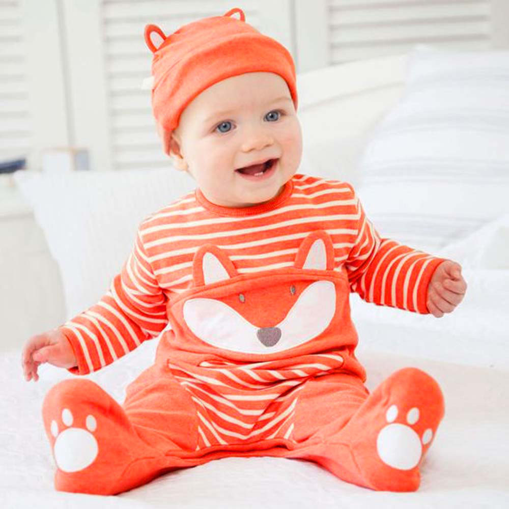 Infant Newborn Baby Boys Girls Cartoon Fox Striped   Romper   Jumpsuit+Hat Outfits clothes
