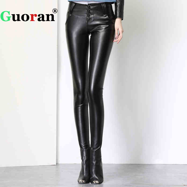 {Guoran} Black PU Leather Leggings For Women Winter 2018 Warm Fleece Faux Leather Pencil Pants High Stretch Trousers Female pant