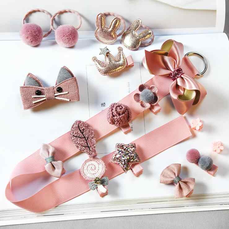 18pieces Head wear Set Children Elastic Bow knot Hair Clips Crown Rabbit Flower Barrettes Hairpins Kids bow Girls Gift A86