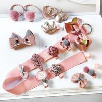 18pieces Head wear Set Children Elastic Bow knot Hair Clips Crown Rabbit Flower Barrettes Hairpins Kids bow Girls Gift A86 Girls Accessories