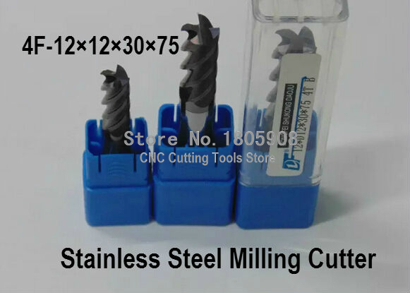 carbide cutter 4F-12*12*30*75MM Special stainless steel alloy milling cutter , CNC milling machine, CNC milling tools, Nc tool