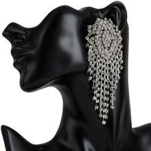 Big statement Earrings luxury women's long earrings diamante rhinestone hanging trendy crystal drop earrings fashion jewelry цена