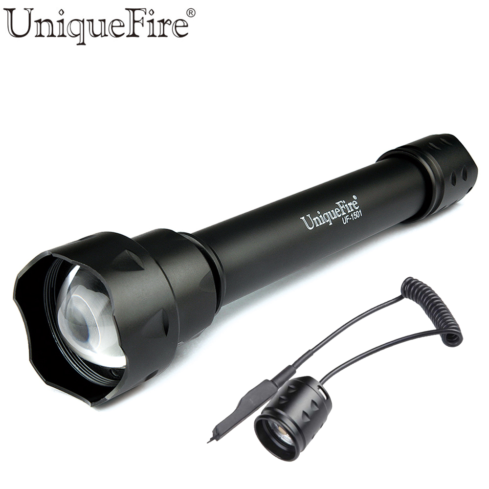 UniqueFire 1501 Cree Q5 Portable LED Flashlight  Single File Adjustable Focus Lens Lantern Power By 18650 Battery+Rat Tail cree q5 powerful led flashlight focus adjustable tactical rechargeable flashlight by 18650 or 3 aaa army color outdoor ligting
