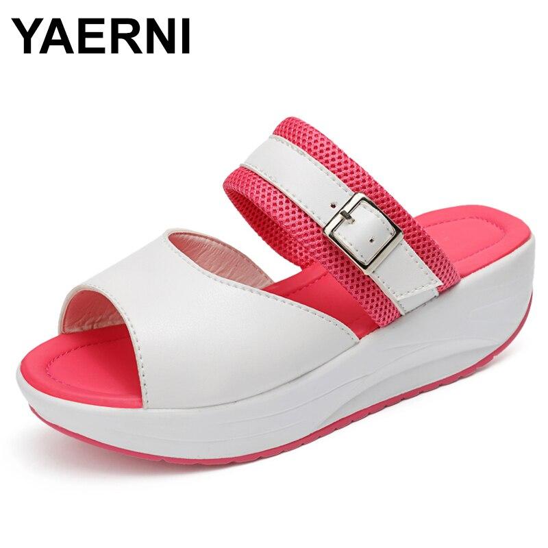 YAERNI 2018 Лето Повседневное Для женщин тапочки на высоком каблуке на платформе с пряжкой слайды за пределами тапочки Sandalias Женская обувь