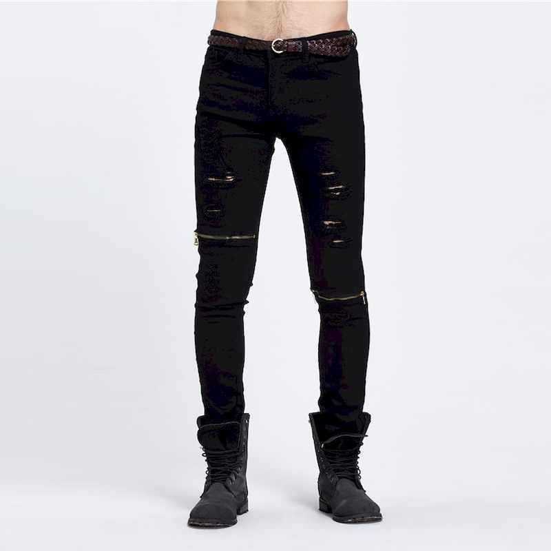 YuWaiJiaRen Men Ripped Designer Jeans 2017 New Fashion Pants Slim Fit Knee Zipper Jeans Men Club ...
