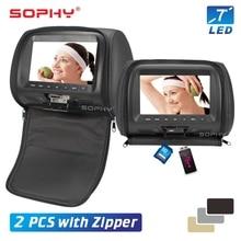 Monitor para reposacabezas de coche con cubierta de cremallera, pantalla Digital LED, almohada, reproductor MP5, 2 uds.