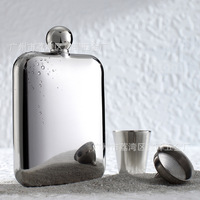 European Style Small Capacity Stainless Steel Hip Flask Pure Steel 304 Outdoor Travel Flagon Whiskey Alcohol Wine Flagon Bottle