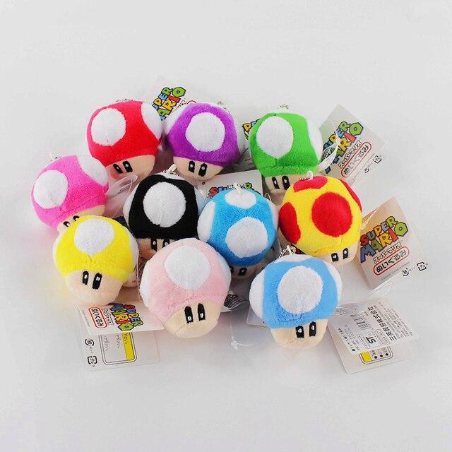 10pcs/lot 6cm Super Mario Bros Toad Plush Toy 10 Styles Mushroom Stuffed Keychain Pendants