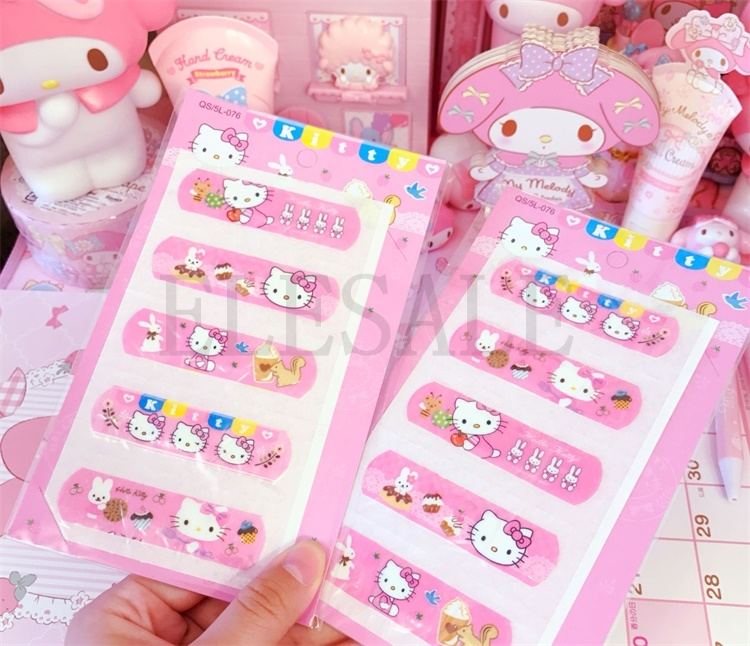 1 Set/5 PCS Cute Hello Kitty Animation Waterproof Cartoon Bandage Sticker Baby Kids Care First Band Aid Travel Emergency Kit outdoor travel kit blue waterproof band aid metal detective food bandage blue color for food processing l 015