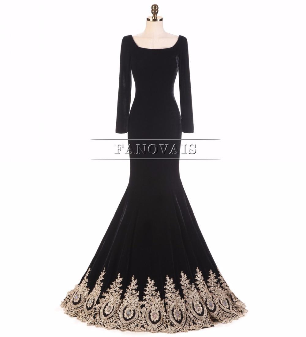 Virkelig bilde Muslim Dubai Gull Appliques Perler Velet Svart Kjole - Spesielle anledninger kjoler - Bilde 4