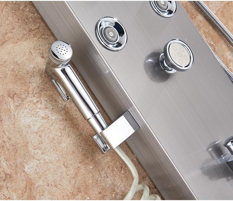 HTB1VN1uXvjsK1Rjy1Xaq6zispXai LED Light Shower Faucet Bathroom Waterfall Rain Black Shower Panel In Wall Shower System with Spa Massage Sprayer and Bidet Tap