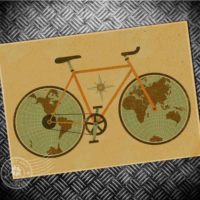 Vintage poster Bicycle Bike Earth Map Retro Bar Pub Cafe Wall Art ...