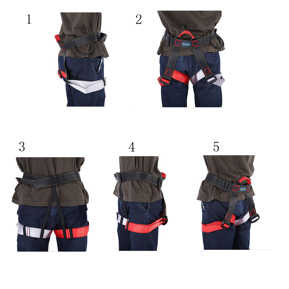 hight resolution of outdoor climbing rock safety belt equipment wiring harness descent in rope double belt with bag for transportation security in climbing accessories from