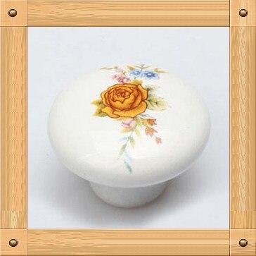 Dia. 35mm Flower  Single hole Ceramic knob Kitchen Furniture knob cabinet knob drawer knob with flower print the aluminum knob wide 15mmx high shaft hole flower 6mm 17mm
