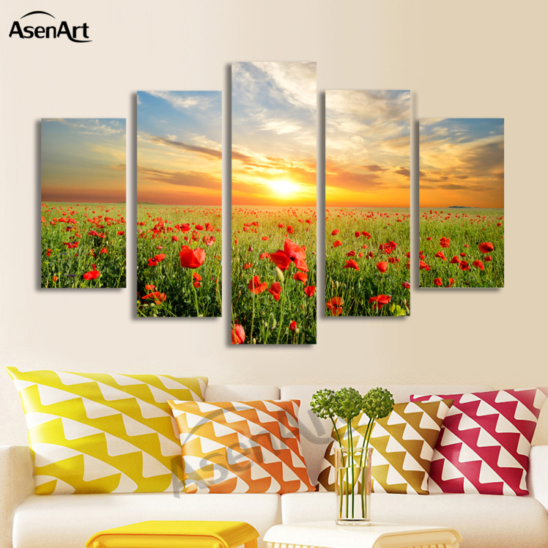 5 Panel Canvas Red Flower Picture Sunset Landscape Painting For Living Room Wall Art Canvas