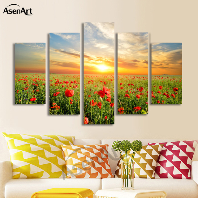 5 Panel Canvas Red Flower Picture Sunset Landscape Painting for ...
