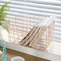 Metal Storage Basket Vogue Japanese Double Handle Iron Net Basket Bath Storage Desk Debris Basket Square Small Items Organizer