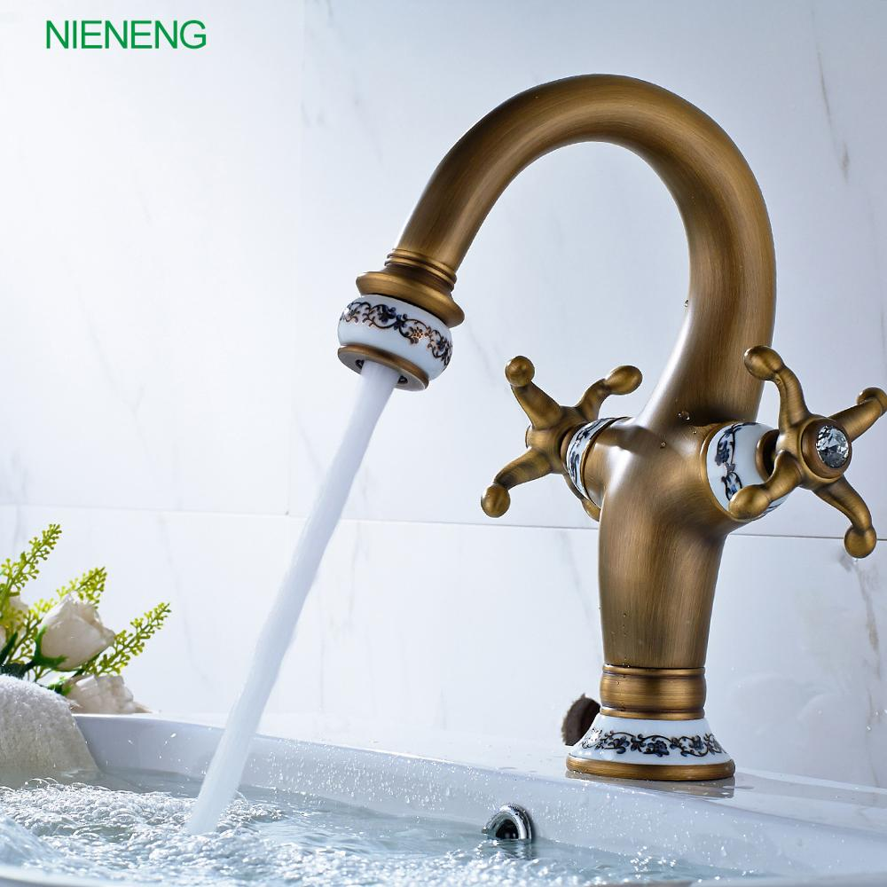 NIENENG bathroom faucet new brand bronze washroom retro hot and cold ...