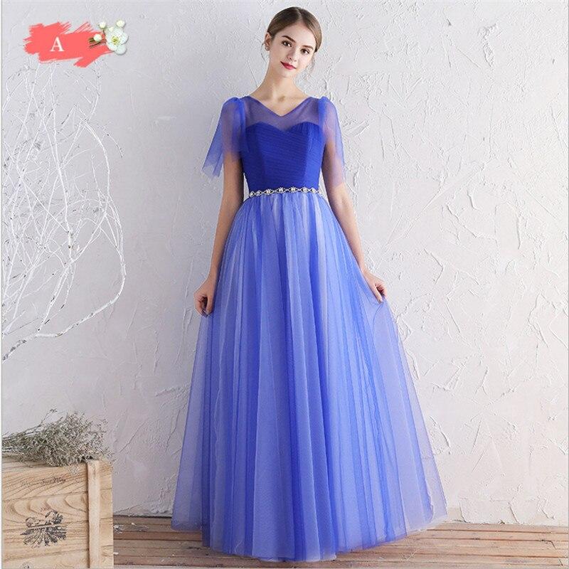 76f719be3b6 Princessally Vestido De Festa Royal Blue Bridesmaid Dress Pleated ...