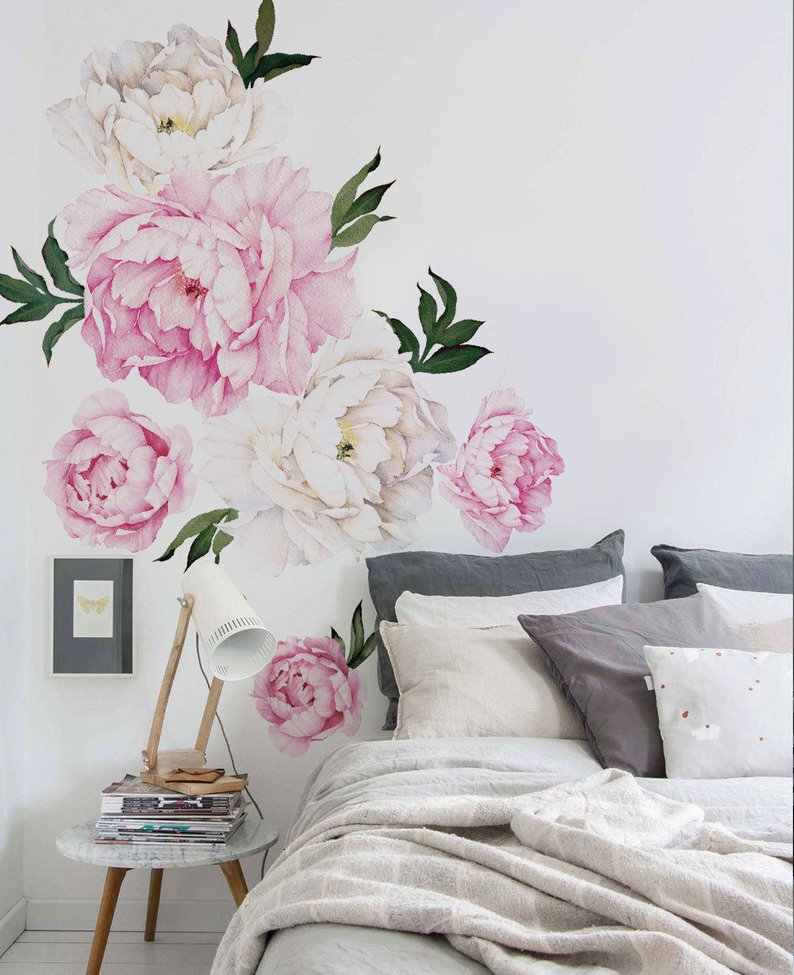 Peony Flower Wall Sticker Vivid Pink Watercolor Peony Wall Stickers Floral Peel and Stick Repositionable Stickers Room Decor