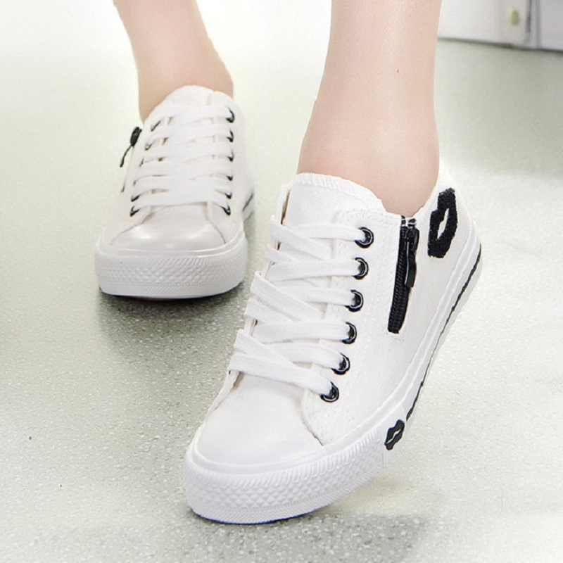 Sommer Turnschuhe Frauen Trainer Weiß Turnschuhe Korb Femme Klassische Leinwand Schuhe Casual Lippen Zip Flache Schuhe Zapatillas Mujer