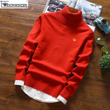 2017 New brand Embroidery Bee casual Fashion Autumn Sweater Men slim fit pullovers turtleneck solid slim fit Pullovers sweaters