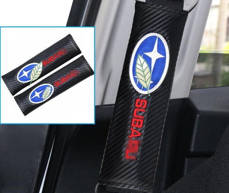 2pcs Carbon Fiber Safety Car Seat Belt Shoulder Pad Cover Car Seat Belt Cushion Car Styling for SUBARU XV Forester Outback STI