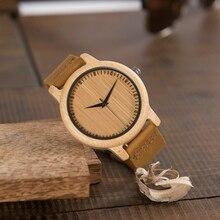 BOBO BIRD relojes de bambú para hombre, marca de lujo, correa de cuero genuino, reloj analógico de cuarzo de madera, relojes casuales, reloj de pulsera para mujer, C A09