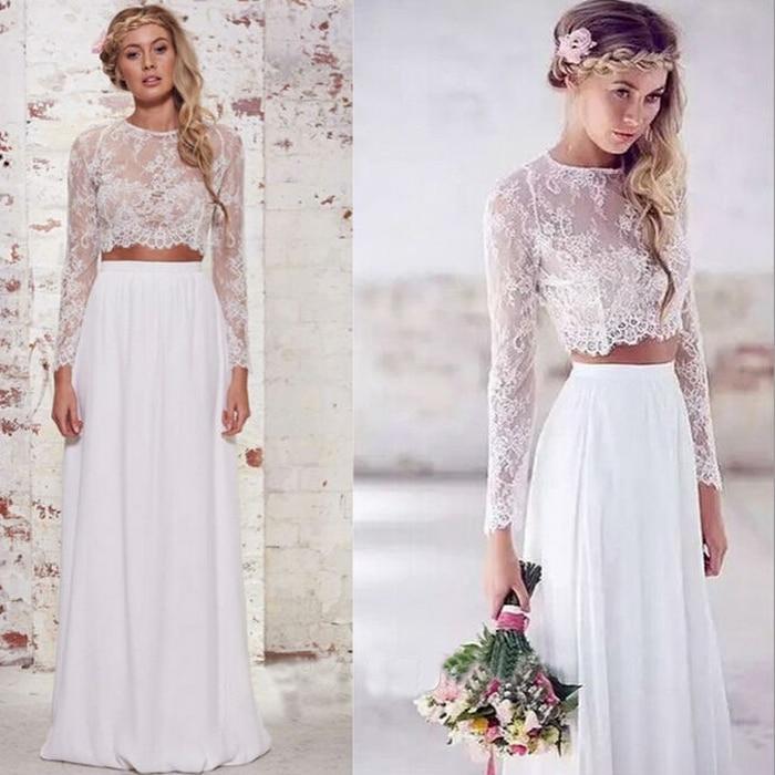 a62c92a9eb235d 2015 New Arrival Hot Seleing Bridal's Aline Long Sleeve Lace Crop Top 2  Piece Wedding Dresses-in Wedding Dresses from Weddings & Events on  Aliexpress.com ...