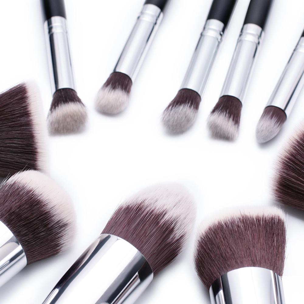 2017 New Jessup 10Pcs Professional Makeup Brushes Set Foundation Blusher Kabuki Powder Eyeshadow Blending Eyebrow Brushes T058