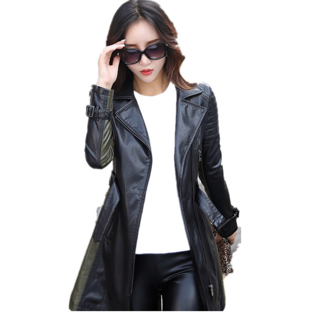 leather jacket women Autumn Winter Faux Leather Jackets Lady Long design Motorcycle Style Lady black green Trench Coat 6707 5