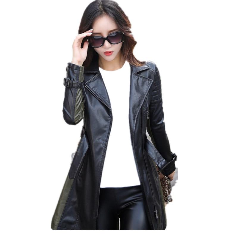 Leather Jacket Women Autumn Winter Faux Leather Jackets Lady Long