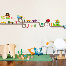 Cartoon Cars Highway Track Wall Stickers For Kids Rooms Sticker Childrens Play Room Bedroom Decor Art Decals