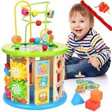 Активность куб, 10 в 1 шарик лабиринт многоцелевой развивающие игрушки деревянная форма цвет сортировщик для детей
