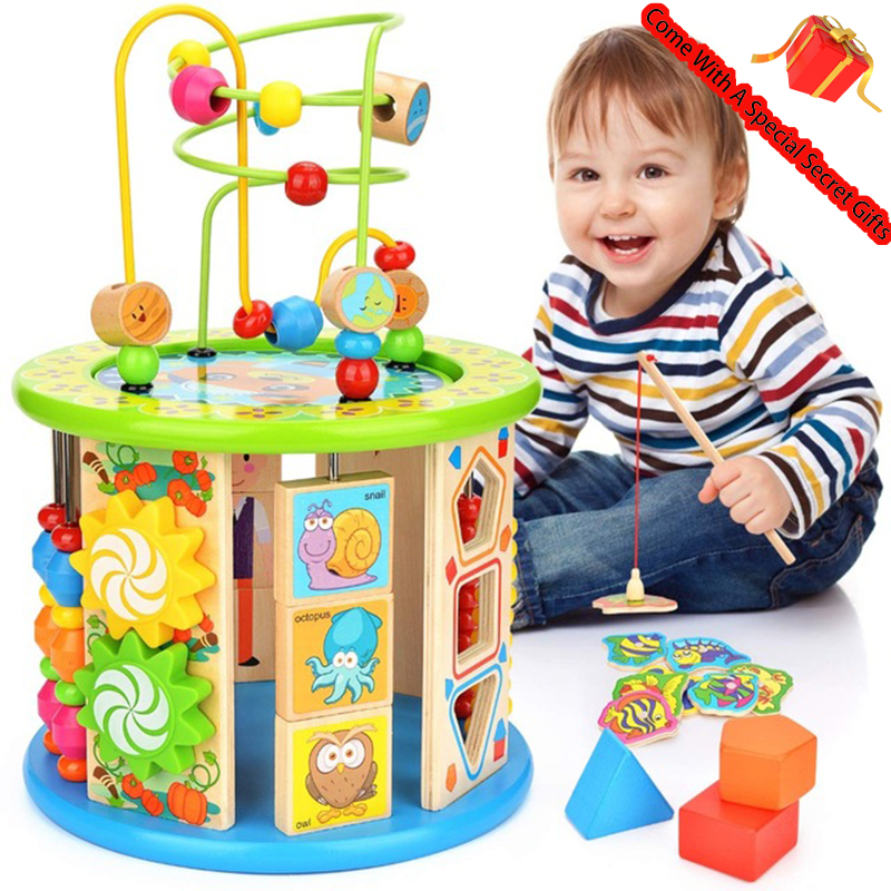 Cube d'activité, 10 en 1 perle labyrinthe jouet éducatif polyvalent bois forme trieur de couleur pour les enfants