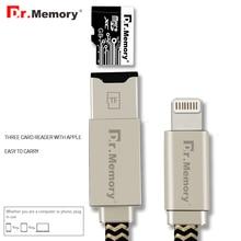 Dr. memoria multifuncional lector de tarjetas del tf para ipad/iphone 5 5S 6 s 7 7 plus rayo cable de carga para iphone lector de tarjetas de memoria